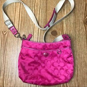 Coach Hot Pink Monogram Canvas Crossbody Bag
